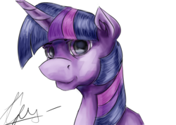 Size: 1600x1131 | Tagged: safe, artist:twi--sparkle, twilight sparkle, pony, bust, portrait, simple background, solo, traditional art, watermark, white background