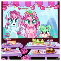 Size: 1200x1200 | Tagged: safe, artist:ipun, oc, oc only, oc:gadget, oc:precious metal, pegasus, pony, against glass, cake, cookie, cupcake, female, food, glass, heart eyes, mare, wingding eyes