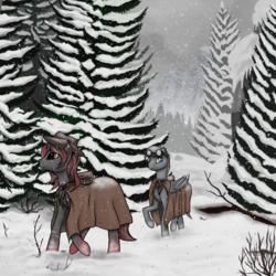 Size: 3500x3500 | Tagged: safe, artist:pony-way, oc, oc only, oc:brimstone, oc:crimson fist, bat pony, pony, mountain, pine tree, scar, snow, tree