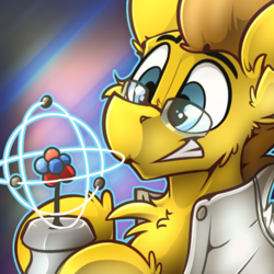 Size: 600x600 | Tagged: abstract background, artist:ralek, atom, avatar, award, bust, clothes, glasses, icon, lab coat, model, nucleus, oc, oc only, oc:particle haze, pony, portrait, safe, scale model, smiling, solo