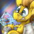 Size: 600x600 | Tagged: safe, artist:ralek, oc, oc only, oc:particle haze, pony, abstract background, atom, avatar, award, bust, clothes, glasses, icon, lab coat, model, nucleus, portrait, scale model, smiling, solo