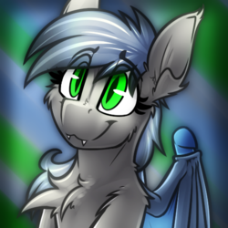 Size: 500x500 | Tagged: abstract background, artist:ralek, avatar, bat pony, bust, fangs, icon, oc, oc:eclipse penumbra, oc only, pony, portrait, safe, smiling, solo, source needed