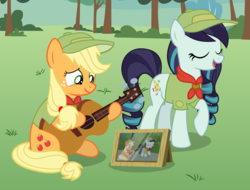 Size: 8974x6816 | Tagged: applejack, artist:jhayarr23, camp friendship, clothes, coloratura, dress, female, framed picture, guitar, pony, rara, safe, singing, vector