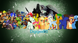 Size: 1920x1080 | Tagged: apple bloom, applejack, artist:digigex90, crash bandicoot, crossover, female, gamera, gamera (series), godzilla, godzilla (series), jak and daxter, kaiju, mare, mario, master chief, pony, ratchet, ratchet and clank, safe, saffron masala, sly cooper, sonic the hedgehog, sonic the hedgehog (series), spyro, spyro the dragon, sunset shimmer, trixie, ty the tasmanian tiger, ty the tasmanian tiger 3: night of the quinkan, unicorn, vapor trail
