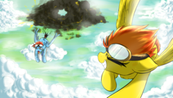 Size: 1900x1080 | Tagged: safe, artist:phuocthiencreation, rainbow dash, spitfire, pegasus, pony, cloud, crash, crashing, eyes closed, flying, goggles, grin, prone, rainbow crash, shipping, singed, smiling, spitdash, stormcloud, tongue out