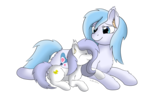 Size: 3507x2550 | Tagged: artist:nacle, cuddling, female, females only, filly, laying down, mother and daughter, oc, oc:lucky duck, oc:mother goose, oc only, safe, simple background, transparent background