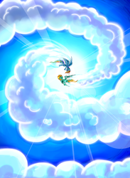 Size: 2122x2903 | Tagged: artist:flamevulture17, cloud, flying, lightning dust, looking at each other, performance, pony, rainbow dash, safe, sky dancer