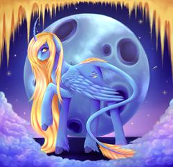 Size: 4000x3850 | Tagged: safe, artist:x-piiu, oc, oc only, oc:morphee, alicorn, pony, alicorn oc, cloud, colored, leonine tail, long mane, moon, solo