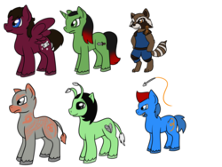 Size: 1024x768 | Tagged: artist:usagi-zakura, drax the destroyer, gamora, groot, guardians of the galaxy, guardians of the galaxy vol. 2, mantis, peter quill, ponified, pony, rocket raccoon, safe, simple background, star-lord, white background, yondu