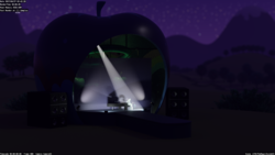 Size: 1286x723 | Tagged: 3d, 3d model, apple stage, artist:therealdjthed, blender, coloratura, cycles, cycles render, earth pony, female, mare, mountain, night, piano, pony, rara, safe, solo, spotlight, stage, stars, the mane attraction, wip