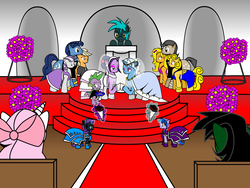 Size: 800x600 | Tagged: alicorn, applejack, artist:dekomaru, ask, bouquet, bridesmaid, clothes, dragon, dress, earth pony, female, lesbian, magic, magical lesbian spawn, male, mare, marriage, night light, oc, oc:diamond cluster, oc:gerbera cluster, oc:honey cluster, oc:midnight, oc:nyx, offspring, parents:twixie, parent:trixie, parent:twilight sparkle, pegasus, pony, safe, shipping, spike, stallion, trixie, tumblr, tumblr:ask twixie, twilight sparkle, twilight velvet, twixie, wedding