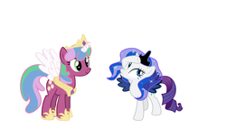 Size: 4483x2735 | Tagged: artist needed, dead source, safe, cheerilee, princess celestia, princess luna, rarity, alicorn, pony, testing testing 1-2-3, absurd resolution, clothes, cosplay, costume, female, lunarity, mare, nicole oliver, simple background, tabitha st. germain, voice actor joke, white background