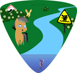 Size: 685x649 | Tagged: safe, artist:haretrinity, quibble pants, jackalope, pony, seahorse, bush, pointy ponies, prank, river, sign, warning sign