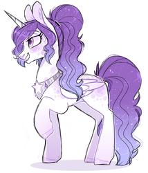 Size: 751x877   Tagged: safe, artist:sararini, oc, oc only, alicorn, pony, alicorn oc, dappled, female, mare, ponytail, raised hoof, simple background, solo, white background