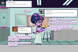 Size: 1280x848 | Tagged: safe, artist:cybersquirrel, sci-twi, twilight sparkle, equestria girls, ask, clothes, ghostbusters, lab coat, laboratory, proton pack, solo, tumblr