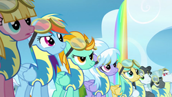 Size: 2560x1440 | Tagged: safe, screencap, bulk biceps, cloudchaser, lightning dust, meadow flower, mercury, rainbow dash, starry eyes (character), sunshower raindrops, thunderlane, pony, wonderbolts academy, clothes, cloud, goggles, rainbow, rainbow waterfall, uniform, wonderbolt trainee uniform
