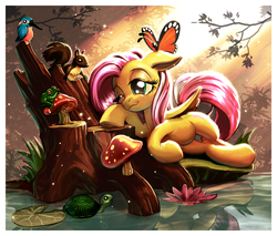 Size: 1200x1022 | Tagged: safe, artist:harwick, fluttershy, bird, butterfly, frog, pegasus, pony, squirrel, turtle, animal, female, floppy ears, fluttershy day, mare, mushroom, pond, reflection, resting, smiling, sunlight, tree stump