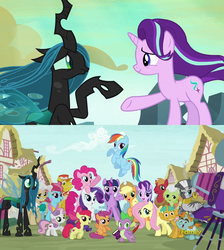 Size: 1920x2146 | Tagged: alicorn, alternate ending, alternate scenario, apple bloom, applejack, big macintosh, camera, carrot cake, cup cake, edit, edited screencap, fluttershy, former queen chrysalis, good end, granny smith, intro, mayor mare, opening, pinkie pie, princess twilight, queen chrysalis, rainbow dash, rarity, reformed, safe, scootaloo, screencap, season 6, season 7, snails, snips, spike, spoiler:s06e25, spoiler:s06e26, starlight glimmer, sweetie belle, theme song, to where and back again, twilight sparkle