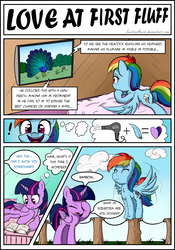 Size: 1500x2138 | Tagged: alicorn, artist:sentireaeris, bed, cute, dialogue, female, fluffy, lesbian, mare, peacock, pegasus, pony, princess twilight, rainbow dash, safe, shipping, speech bubble, twidash, twilight sparkle