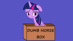 Size: 2560x1440 | Tagged: alicorn, blue background, box, princess twilight, sad, safe, screencap, simple background, solo, text, totally legit recap, truth, twilight sparkle