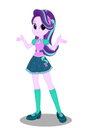 Size: 2300x3455 | Tagged: artist:broncat, clothes, equestria girls, female, new outfit, safe, simple background, smiling, solo, starlight glimmer, transparent background