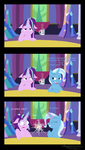 Size: 1172x2075 | Tagged: safe, artist:megaanimationfan, starlight glimmer, trixie, pony, unicorn, all bottled up, beauty and the beast, chip, comic, crossover, cup, disney, female, floppy ears, mare, mug, shocked, shrunken pupils, signature, teacup, that pony sure does love teacups, twilight's castle, wide eyes