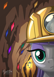 Size: 955x1351 | Tagged: safe, artist:mysticalpha, maud pie, earth pony, pony, rock solid friendship, bust, cave, female, gem, helmet, lamp, looking at you, mine, mining helmet, portrait, solo