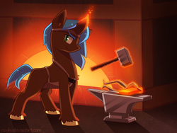 Size: 800x601 | Tagged: anvil, artist:riouku, blacksmith, clothes, commission, fire, forge, hammer, levitation, magic, male, oc, oc:bantos greathoof, oc only, pony, safe, smiling, smithing, solo, stallion, telekinesis, tongs, unicorn, unshorn fetlocks