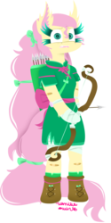 Size: 1024x2048 | Tagged: safe, artist:vanillaswirl6, fluttershy, pegasus, pony, semi-anthro, archer, archery, arrow, bandage, bandaid, bipedal, boots, bow, bow (weapon), bow and arrow, clothes, colored eyelashes, colored pupils, dress, female, long hair, looking at you, medieval, nervous, open mouth, photoshop, quiver, ribbon, sharp teeth, shoe laces, signature, simple background, solo, teeth, transparent background, weapon, worried