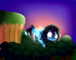 Size: 1024x813 | Tagged: safe, artist:singlepum, oc, oc only, oc:despy, earth pony, pony, artificial wings, augmented, female, forest, magic, magic wings, mare, solo, sunset, tree, wings