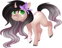Size: 1907x1465 | Tagged: artist:shiromidorii, bow, oc, oc only, oc:tegan, pony, safe, simple background, solo, transparent background