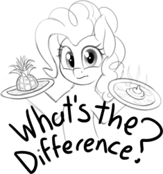 Size: 1382x1471 | Tagged: artist:zippysqrl, bust, derpibooru exclusive, earth pony, female, food, grayscale, looking at you, mare, monochrome, pineapple, pineapple pizza, pinkie pie, pizza, pony, poop, safe, simple background, sketch, solo, take that, white background