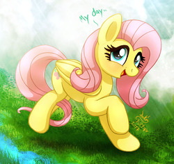 Size: 1060x1000 | Tagged: safe, artist:joakaha, fluttershy, pegasus, pony, cute, female, fluttershy day, folded wings, grass, looking at you, mare, open mouth, raised hoof, shyabetes, signature, smiling, solo