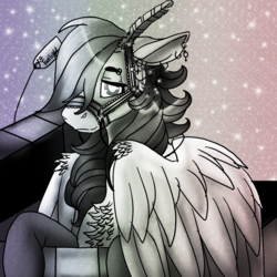Size: 1550x1550 | Tagged: safe, artist:brainiac, rainbow dash, bridle, chest fluff, clothes, ear piercing, earring, feather, female, floppy ears, glitter, implied lesbian, implied shipping, implied twidash, jewelry, monochrome, piercing, present, simple background, socks, solo, sparkles, stars, tack, wing fluff