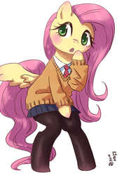 Size: 1000x1412 | Tagged: safe, artist:yanamosuda, fluttershy, pegasus, pony, anime, bipedal, blushing, clothes, cute, female, mare, pantyhose, shyabetes, simple background, skirt, solo, sweater, sweatershy, white background