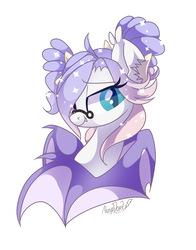 Size: 1051x1338   Tagged: safe, artist:nuryndork, oc, oc only, oc:moonaroon, bat pony, pony, glasses, solo