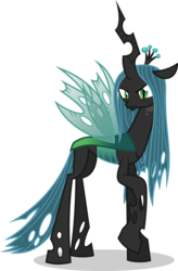 Size: 7000x10658 | Tagged: absurd res, artist:luckreza8, changeling, changeling queen, female, queen chrysalis, raised hoof, safe, simple background, solo, .svg available, to where and back again, transparent background, vector