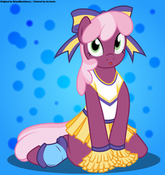 Size: 4500x4750 | Tagged: safe, artist:an-tonio, artist:brianblackberry, color edit, derpibooru exclusive, edit, cheerilee, earth pony, pony, semi-anthro, abstract background, absurd resolution, arm hooves, bow, cheeribetes, cheerileeder, cheerleader, clothes, colored, cute, female, hair bow, looking at you, mare, open mouth, shirt, sketch, skirt, solo