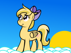 Size: 2133x1600 | Tagged: artist:brightstarclick, cloud, oc, oc:amber streak, oc only, pony, safe, solo