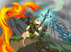 Size: 1280x931 | Tagged: safe, artist:lord-destrustor, part of a set, fluttershy, pony, air, cloak, clothes, earth, elements, female, fire, folded wings, hooded cape, hoof hold, looking at something, mountain, sitting, solo, staff, ten legendary weapons, water, yggdrasil
