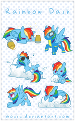 Size: 454x728   Tagged: safe, artist:mousu, rainbow dash, pegasus, pony, cider, clothes, cloud, cute, dashabetes, female, foal, sleeping, solo, sunglasses, uniform, wonderbolts uniform