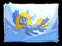 Size: 923x685 | Tagged: safe, artist:kapusha-blr, oc, oc only, pegasus, pony, flying, solo