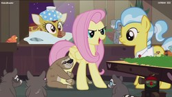 Size: 1920x1080 | Tagged: safe, screencap, clementine, constance, doctor fauna, fluttershy, lola the sloth, smoky, smoky jr., softpad, bird, earth pony, giraffe, koala, pegasus, pony, raccoon, sloth, fluttershy leans in, animal, female, frown, glare, hug, mare, open mouth, pillow, sick, smiling, smirk, wide eyes