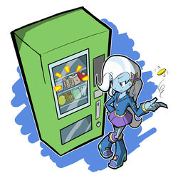 Size: 1000x1000 | Tagged: safe, artist:rvceric, trixie, equestria girls, cinnamon nuts, clothes, coin, crackers, crossed legs, female, food, hoodie, peanut butter, peanut butter crackers, skirt, solo, that human sure does love peanut butter crackers, thinking, vending machine