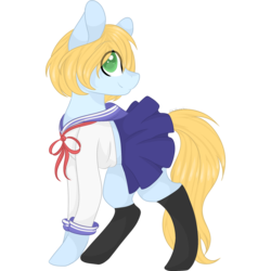 Size: 2048x2048 | Tagged: safe, artist:cinnamontee, oc, oc only, oc:shiro, earth pony, pony, clothes, colored pupils, crossdressing, cute, high res, male, pleated skirt, schoolgirl, simple background, skirt, skirt lift, socks, solo, stallion, transparent background