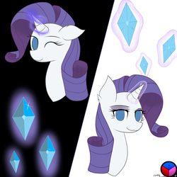 Size: 1280x1280 | Tagged: artist:zombiefreak719, gem, magic, one eye closed, pony, rarity, safe, solo, wink