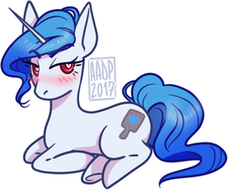 Size: 450x375 | Tagged: artist:alvrexadpot, blue mane, blushing, cutie mark, derpibooru exclusive, oc, oc:blacc crop, paddle, pink eyes, pony, safe, solo, unicorn, wingding eyes