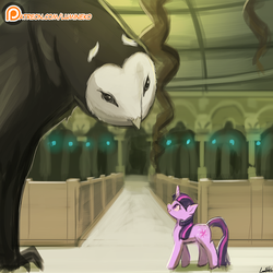 Size: 750x750   Tagged: dead source, safe, artist:lumineko, twilight sparkle, owl, pony, unicorn, avatar the last airbender, crossover, duo, female, library, looking at each other, looking up, mare, open mouth, patreon, patreon logo, smiling, unicorn twilight, wan-shi-tong