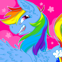 Size: 1280x1280 | Tagged: safe, artist:gibbyybearr, rainbow dash, pony, bust, icon, open mouth, over shoulder, portrait, smiling, solo, teeth, wings