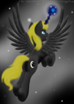 Size: 1889x2657 | Tagged: alicorn, alicorn oc, artist:marsh-mal-oh, flying, glowing horn, magic, oc, oc:moon ray, oc only, pony, safe, solo